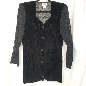 Vtg Judy's velvet top size M black sheer sleeves